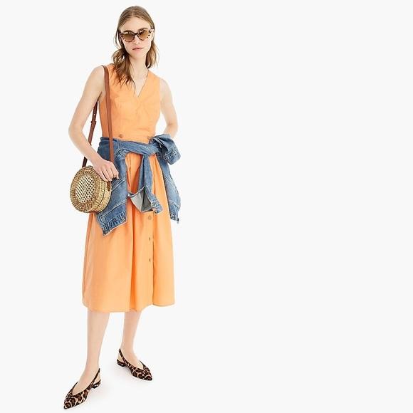 J. Crew Dresses & Skirts - J Crew A-line sleeveless cotton shirtdress orange